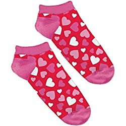 "Amscan Valentine's Day Hearts No Show Socks (1 Pair), 9"" x 3.9"", Pink/Red"