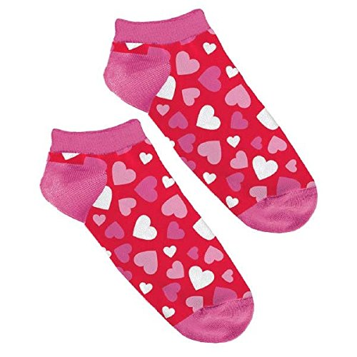 Valentine's Day Hearts No Show Socks Party Favour (1 Pair), Pink/Red, Standard Size, 9