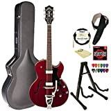Guild Starfire III w/ GVT CHR Hollowbody Electric Guitar,  Cherry Red, W/Guild Vibrato Tailpiece with Guild Hard Case, ChromaCast Electric Strings, Cable, Strap, Picks, Stand and Polish Cloth