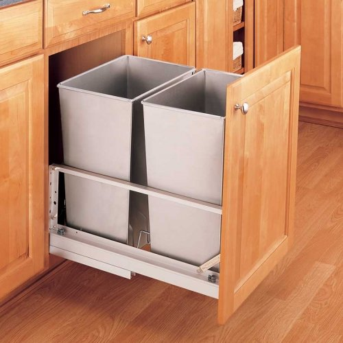UPC 090713007090, Double Trash Pullout 32 Quart-Stainless Steel
