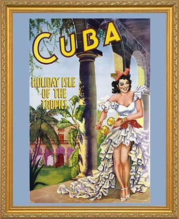 Cuba Holiday Isle of The Tropics 1950 Framed Vintage Travel Reproduction  Poster Custom Made Real Wood Gold Traditional Frame (18 1/8 x 22 1/8)