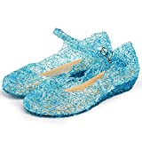 Katara ES10 - Girl's Festive Princess Heel Shoes, Mary Janes Jelly Sandals, UK girls size 10, Blue
