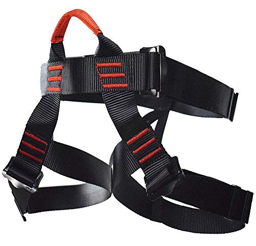NewDoar Climbing Harness, Women Man Child Half Body Safe Seat Belts for Mountaineering Rock Climbing,Mountaineering Outward Band Fire Rescue,Expanding Training,Rappelling Gear (Black)