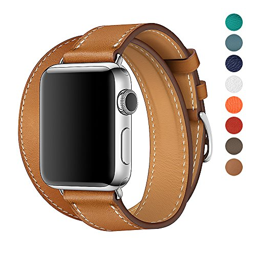 Apple Wrap (Apple Watch Band 38/42mm Leather Double Tour iwatch Strap Replacement Band with Stainless steel Adpter Clasp for Iphone Watch Series 3 Series 2 Series 1,Sport Edition ,Men Women (Brown, 38mm))