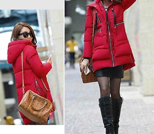 Down Coat Winter Up Korean Hooded Zip Jacket Ladies Red Padded Women Bigood a8wfZZ