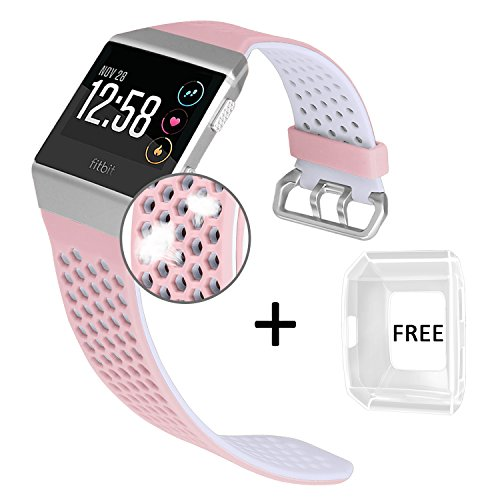 Jobese For Fitbit Ionic Bands, Breathable Silicone Sports Bands with Crystal Protective Case for Fitbit Ionic Smart Watch Soft Accessories Wristbands (Large)