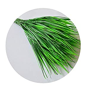 DraFenn New 7 Fork Green Grass Artificial Flowers Plants Plastic Flowers Household Decoration Party Home Room Decor 1
