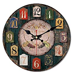 MEISTAR Wooden Creative 12 Inch Wall Clocks,American Country Style Colorful Arabic Numerals Grape Design Farmhouse Decor Quiet Non Ticking Wall Clock