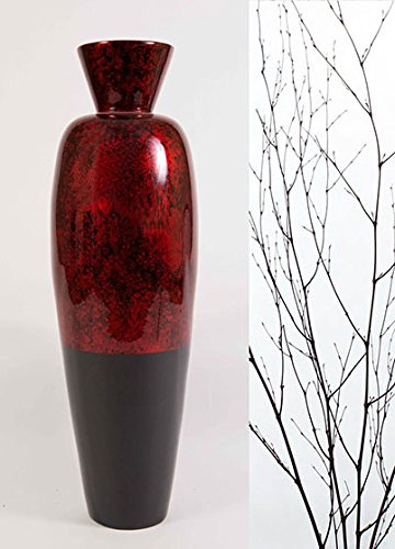 GreenFloralCrafts 36'' Large Lacquer Asian Vase - Red Swirl & Branches