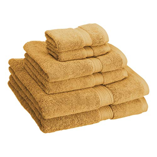 Blue Nile Mills Buckingham Egyptian Cotton 6-Piece Towel Set, 900 GSM, Hotel Quality, Luxury Weight, Long-Staple, Soft, Absorbent, Durable, Rope-Style Border, 2 Bath, 2 Hand, and 2 Face Towels, Toast