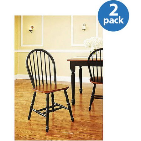 Better Homes and Gardens Autumn Lane Windsor Chairs (Set of 2 Black and Oak) by Better Homes & Gardens