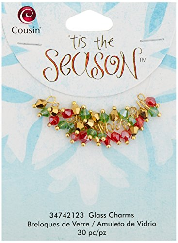 Cousin Tis The Season Glass/Metal Charms, Bicone with Gold, (Metal Bicone)