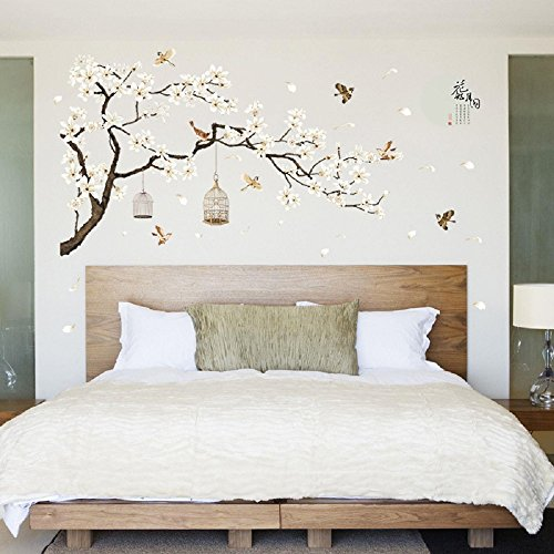 Amaonm Chinese Style White Flowers Black Tree and Flying Birds Wall Stickers Removable DIY Wall Art Decor Decals Murals… 4