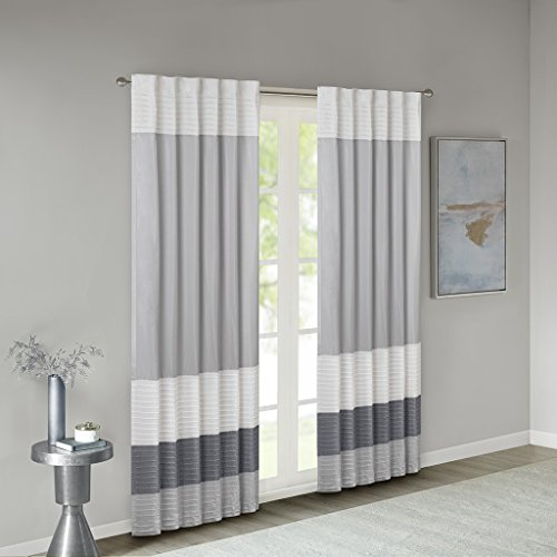 White Gray Stripe Silk - Madison Park Room-Darkening Window Treatment Curtain Solid Thermal Insulated Panel Blackout Drapes for Bedroom Livingroom and Dorm, 50x84