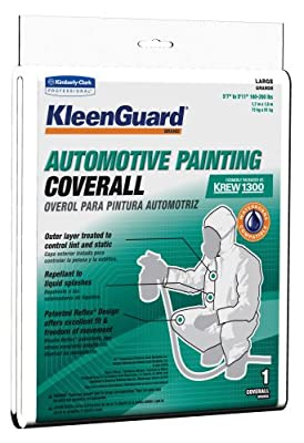 Kimberly-Clark KleenGuard Fabric Automotive Painting Coverall with Hood, Disposable, Elastic Wrist and Ankle, 72213 (Case of 10)