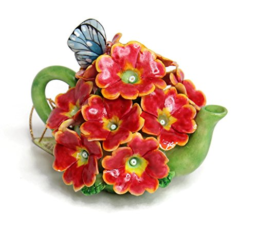 (Unique Design Porcelain Miniature Flower Teapot for Home, Fairy Garden, Mini Garden and Dollhouse Decoration, Approx Size 3-3.25 inches Tall. Also Great for Mini Tabletop Vase. (Red /Orange Geranium))