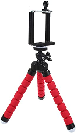 Flexible Mini Phone Tripod Stand,Heyqie(TM) Lightweight Octopus Style Portable and Adjustable Tripod Stand with Mount Holder for iPhone, Smartphone, Digital Camera, Webcam, Sport Action Camera - Red: Amazon.es: Hogar