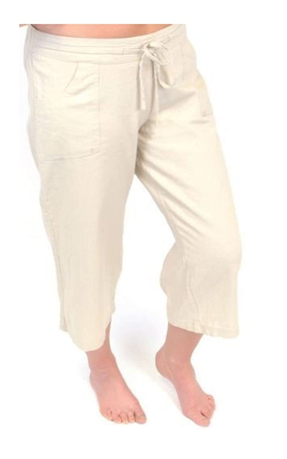 wholesale online best loved various styles ladies womens linen cropped trousers pants 3/4 short summer ...