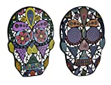 Zeckos Wood & Glass Decorative Plaques Set of 2 Mirrored Glass Day of The Dead Mosaic Sugar Skull Plaques 6.5 X 9 X 0.25 Inches Multicolored