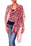 NOVICA 100% Silk Batik Shawl Wrap with Red Floral Print, 'Wine Garden' (long)