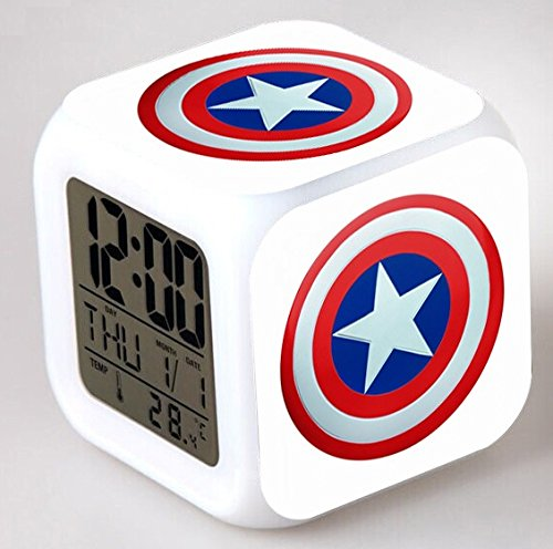 Enjoy Life : Cute Digital Multifunctional Alarm Clock With Glowing Led Lights and Avengers sticker, Good Gift For Your Kids, Comes With Bonuses Part 1 (02) by EnjoyLife Inc