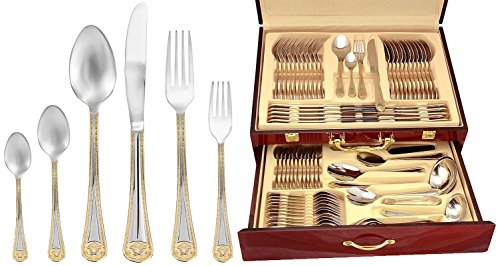 Italian Collection 'Greek' 85-Piece Premium Surgical Stainless Steel Silverware Flatware Set 18/10, Service for 12, 24K Gold-Plated Hostess Serving Set in a Wooden Case (12 Set Piece Gold)