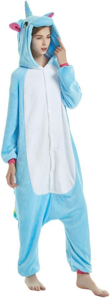 KiKa Monkey Unisex Unicornio Adulto Ropa de Hombre Animal Pijamas Traje de Cosplay Pijamas de Navidad (Azul, S)