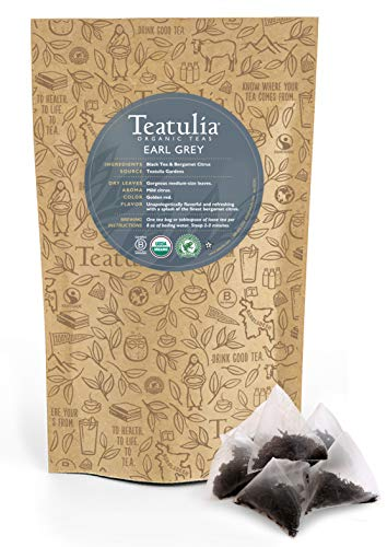 Teatulia Organic Earl Grey Tea 50 Premium Pyramid Tea Bags - Brew Hot or Cold Compostable Corn-Silk Bags