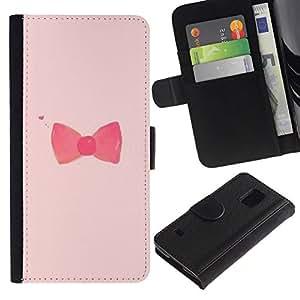 All Phone Most Case / Oferta Especial Cáscara Funda de cuero Monedero Cubierta de proteccion Caso / Wallet Case for Samsung Galaxy S5 V SM-G900 // arco pajarita diseño rosado rojo de moda