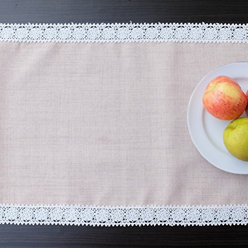 AHOLTA DESIGN Turkish Linen Easter Table Runner - Rectangular Lace Tablerunner - Family Dinners Coffee Table Kitchen Table Outdoor Picnic Thanksgiving Weddings Parties (Cappuccino Lace, 14