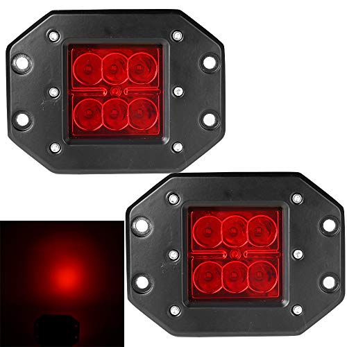 Athiry 18W 4.5In led Work Light Flush Mount Pods Cube Reverse Backup Lamp Fog Lights Bumper Offroad lights for Jeep, SUV, ATV, UTV, 4 x 4, Sand rails, Cars, Truck(Red - 4 Flush Light Rail