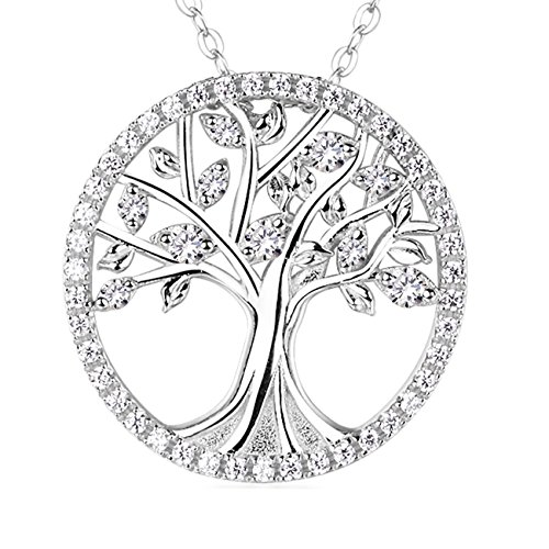 """Anniversary Birthday Gifts for Her girlfriend for Women"""" The Tree of Life"""" Love Pendant Necklace Fine Jewelry Sterling Silver -18""""+2"""" Chain Simulated Diamond"""