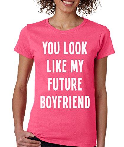 SignatureTshirts Women's You Look Like My Future Boyfriend Funny T-Shirt 2XL Hot Pink