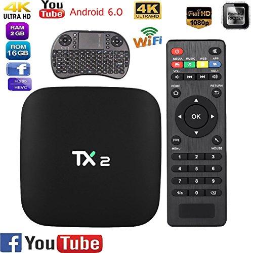YIMOHWANG TX2 Smart Android 6.0 Smart Tv Box 2GB RAM 16GB ROM 2.4GHz WiFi 4K H.265 DLNA AirPlay 4K Smart TV Box TX2 R1 R2 by YIMOHWANG