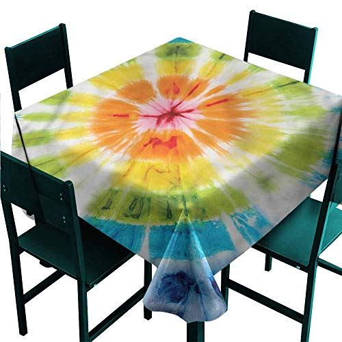 (DONEECKL Oil-Proof and Leak-Proof Tablecloth Grunge Round Trippy Batik Figure Indoor Outdoor Camping Picnic W36 xL36)