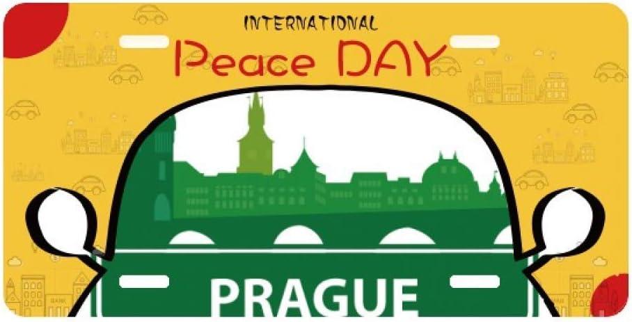 Prague Czech Republic Green Landmark License Plate Tag Car Decoration Peace Day