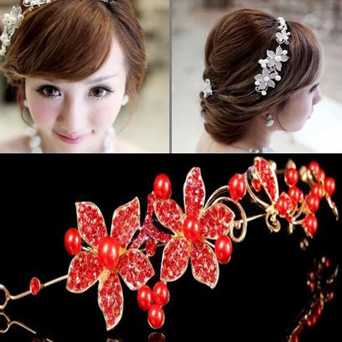 Ladies Silver Rhinestone Bridal Wedding Flower Pearls Headband Hair Clip Comb (Red) (1920 Hairstyles For Long Hair)