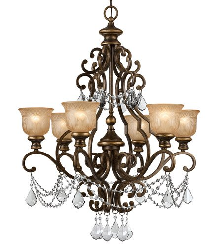 - Chandeliers 6 Light with Bronze Umber Clear Swarovski Strass Amber Etched Wrought Iron 28 inch 360 Watts - World of Lighting