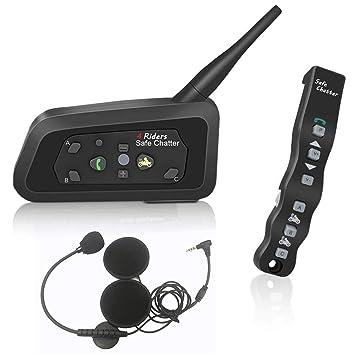 LEXIN LX-R6 Intercomunicador de Motocicleta de Bluetooth Casco Comunicador Auricular, 1000m Gama Intercomunicador