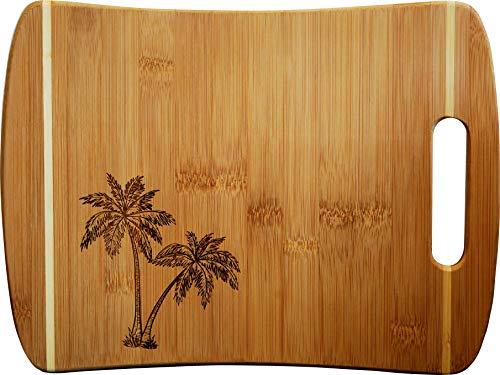Doodle Gifts Pin Stripe Bamboo Cutting Board w/Handle, Palm Tree, 9 x 12