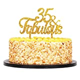 QIYNAO Gold Premium Quality Acrylic 35 & Fabulous Cake Topper Happy 35th Birthday Anniversary Party Decoration