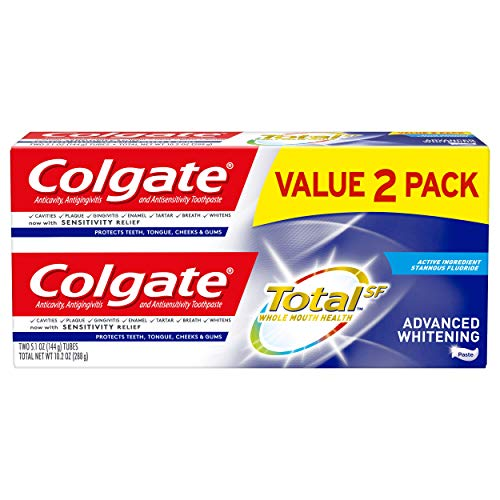 Colgate Colgate Total Advanced Whitening Toothpaste with Fluoride, Multi Benefit Toothpaste with Sensitivity Relief and…