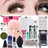 Pro 19pcs False Eyelashes Extension Practice Exercise Set, Professional Head Model Lip Makeup