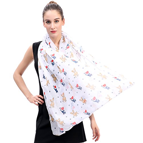 Lina & Lily I Love Chihuahua Dog Print Infinity Loop Scarf for Women (White) by Lina & Lily (Image #3)
