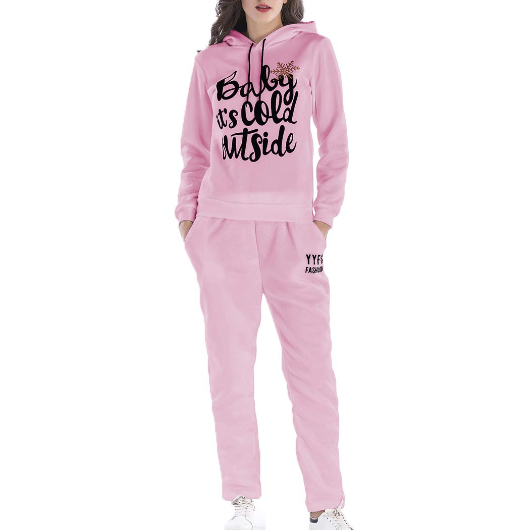 Womens Christmas Sweat Pants Two-Piece Set Letter Print Hooded Sweater Set