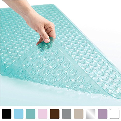 Gorilla Grip Original Patented Bath, Shower, Tub Mat (35×16) Machine Washable, Antibacterial, BPA, Latex, Phthalate Free, Bathtub Mats with Drain Holes and Suction Cups, XL Size Bathroom Mats (Green)