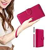 LUCKY FLOWER Passport Holder for Women Wallet, Leather Credit Card Case Clutch Purse with Gift Boxed(Rose Red)