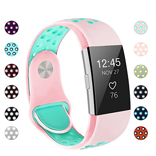 POY Replacement Bands Compatible for Fitbit Charge 2, Adjustable Breathable Wristbands with Air Holes Straps, Small Pink Teal