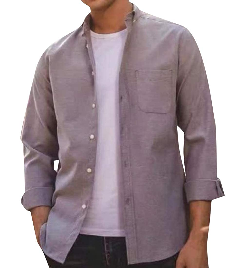 YUNY Mens Point Collar Slim Casual Business Shirts with Pockets Grey S