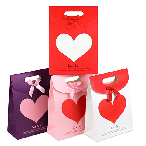 St.Ushinen Pack of 8 Creative Love Heart Flip Tote Paper Gift Bag Wedding Candy Bag - A Set of 4 Colors- Small Medium Large - for Birthday Valentine's Day Anniversary Gift Wrapping Bag (Medium, 8pcs)
